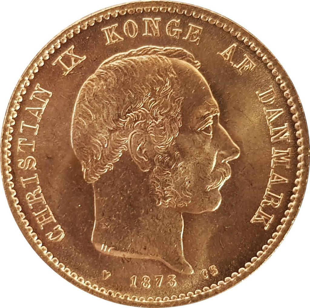 1873 Danish 20 Kroner Obverse