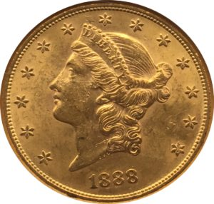 1888 S $20 Gold Liberty Double Eagle Obverse