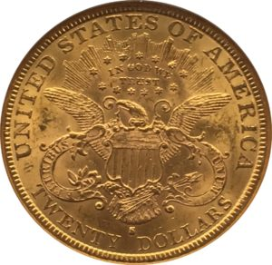 1888 S $20 Gold Liberty Double Eagle Reverse