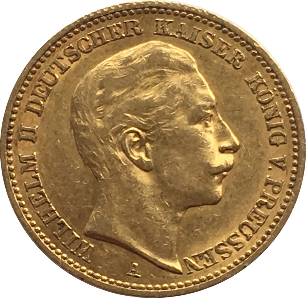 1901 Gold 20 Marks Germany Obverse