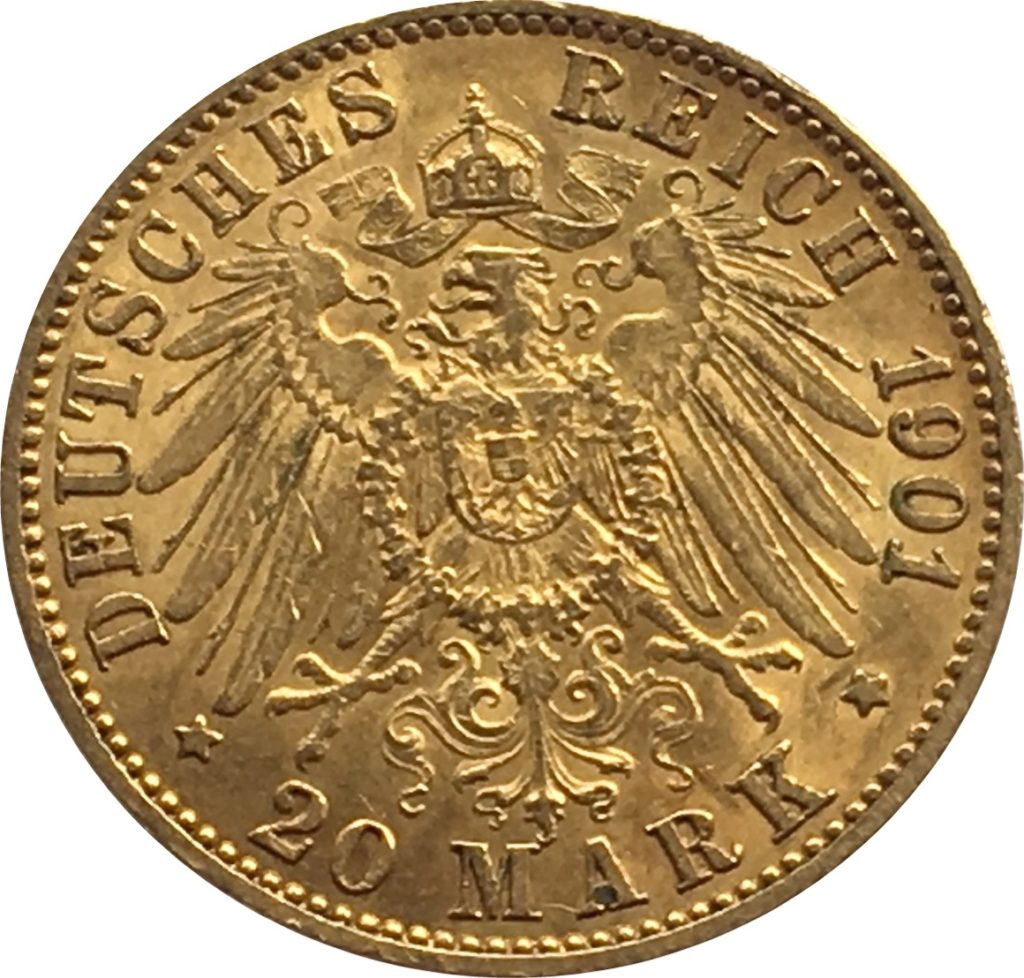 1901 Gold 20 Marks Germany Reverse