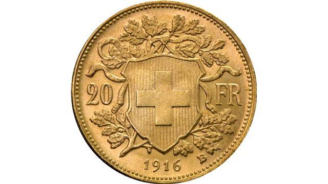 20 francs Vreneli Gold Coin Reverse