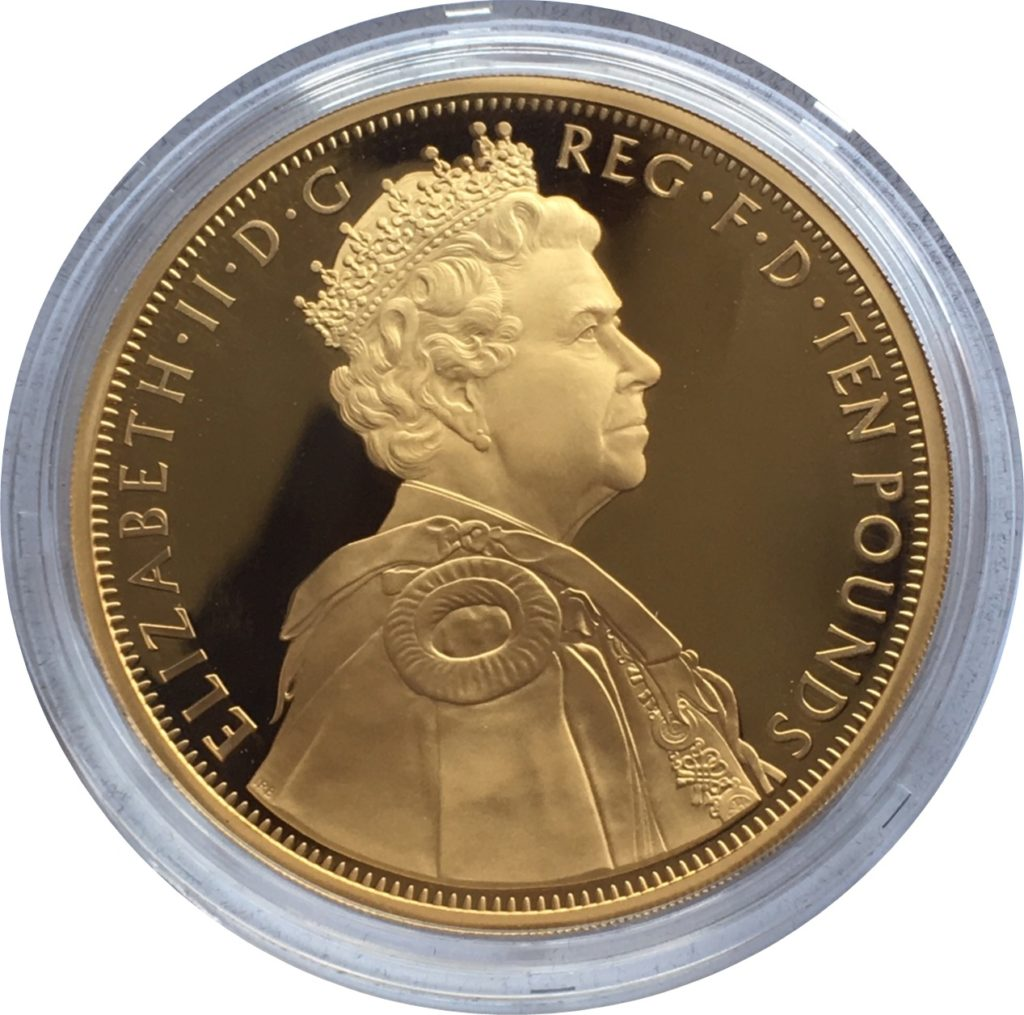 2012 Gold Ten Pounds Diamond Jubilee 5oz Obverse
