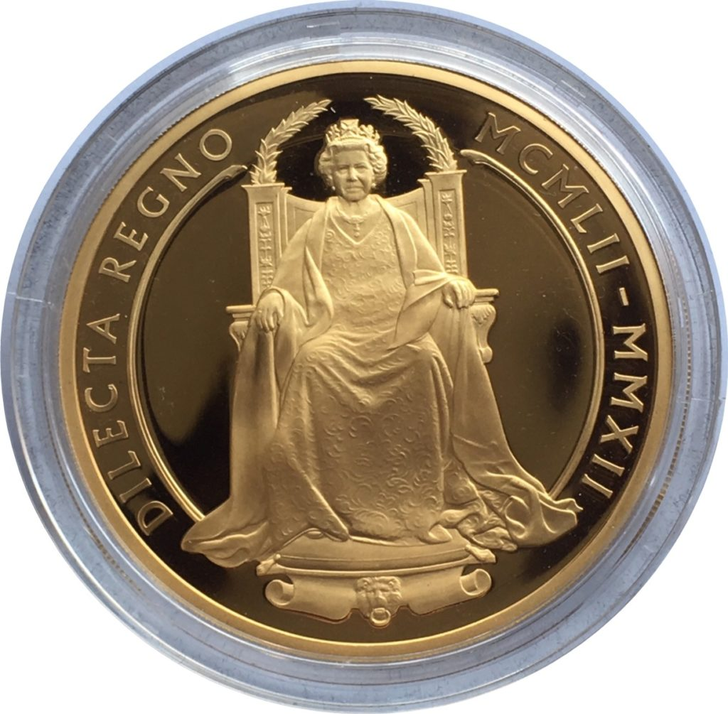 2012 Gold Ten Pounds Diamond Jubilee 5oz Reverse